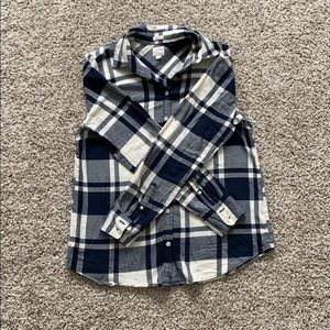 Jcrew blue and white plaid button down
